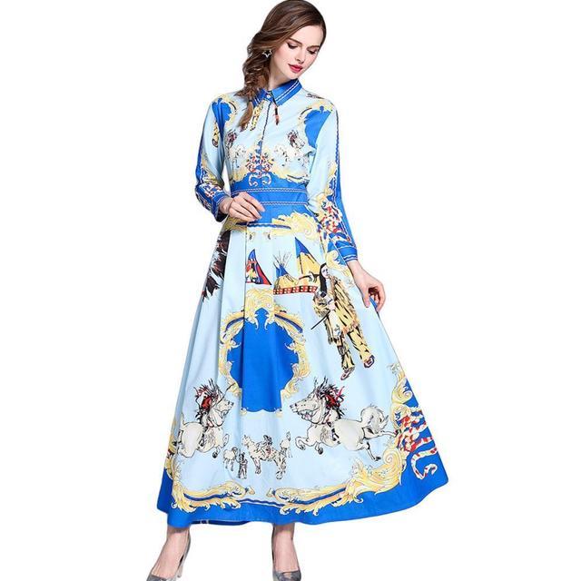 Spring Summer Women Horses Floral Maxi Dresses Long Sleeve Runway Dress Shirt Casual Vestido Mujer Verano 2018 Robe Ete Femme