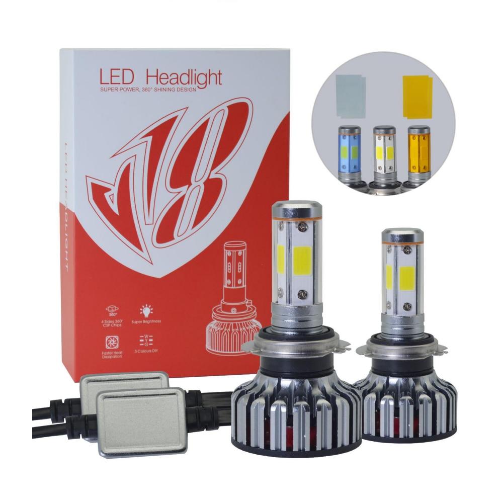 Car Headlight H7 LED H4 H1 H11 H3 H13 H27 880 9006 9007 72W 8000LM 3000K 6000k 10000k 12V 24V Auto Headlamp COB Fog Light Bulb