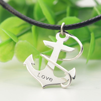 Wholesale 925 Solid Silver Anchor Necklace Engraved Personalized Words Name Custom Men Necklace Leather Chain