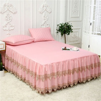 Tencel Silk Ultra Soft Bed sheet set Multi Color Lace Ruffled Bedskirt Twin Queen King size 3Pcs Bed skirt with Pillowcase