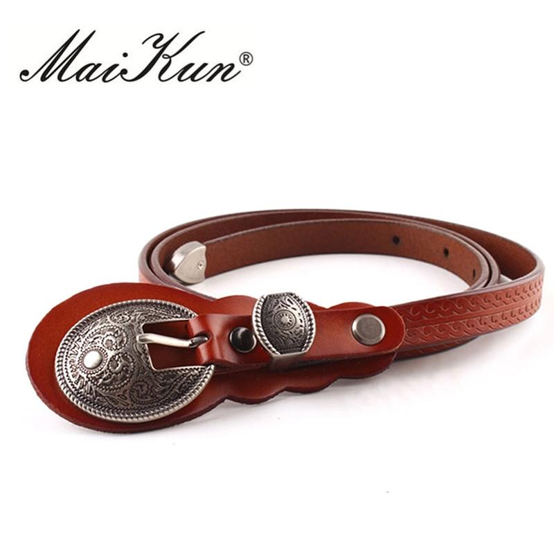 MaiKun Thin Belts For Women Belt Lady's Vintage Original Leather Designer Belt Metal Buckle Female Belt