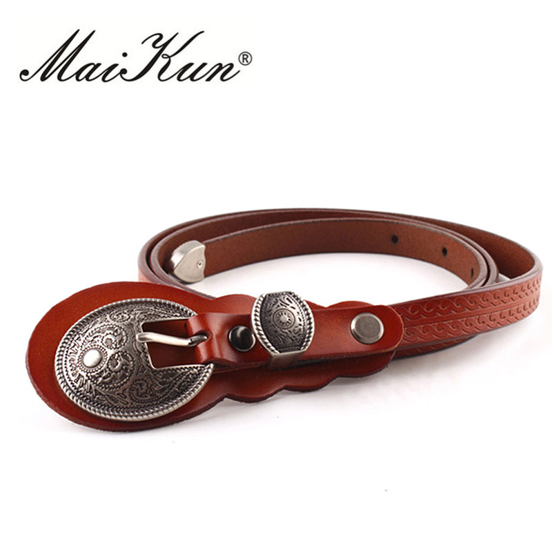 MaiKun Thin   Belts   for Women   belt   Lady's Vintage Original Leather Designer   Belt   Metal Buckle Female   Belt