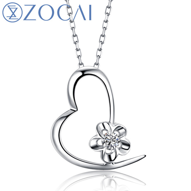 ZOCAI Heart Reflection 18K White Gold 0.03 CT Certified H / SI Diamond Pendant with 925 Silver Chain Necklace D00006
