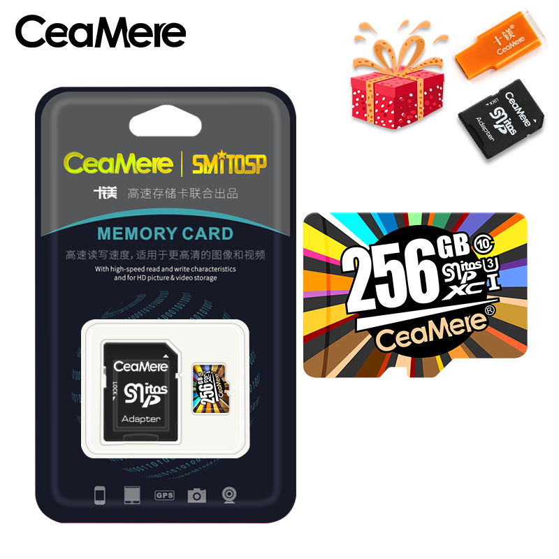 Купить с кэшбэком CeaMere Memory Card 256GB 128GB 64GB U3 UHS-3 32GB Micro sd card Class10 UHS-1 flash card Memory Microsd TF/SD Cards for Tablet