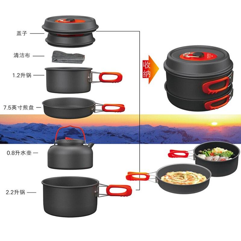 Camping pot ensemble 4-6 personnes camping en plein air ustensiles de cuisine pique-nique équipement et vaisselle haute qualité bouilloire poêle bouilloire CW-C31 - 6