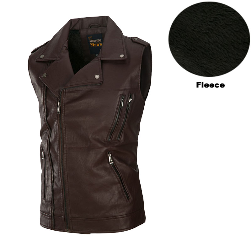 Winter Wind Leather Fleece Motorcycle Biker Vest Mens Concealed Carry Zip Pocket Waistcoat For Men Brown Black Military Green