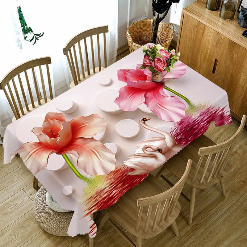 Голубая бабочка цветок 3D Декоративная скатерть хлопок лен скатерть на обеденный стол Обложка для Декор для кухни