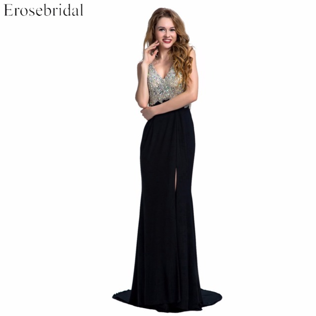 V-Neck Mermaid  Long Prom Dress Sleeveless Deep Backless Beaded Sequined Sweep Train Evening Gown Vestido de fiesta ES097