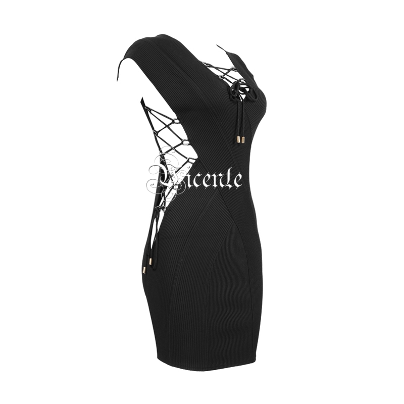Vicente Noir Hot up Gros Robe V Sans En Bandage Lace Chic Manches Mini Party Design cou Sexy Celebrity rUqFrS