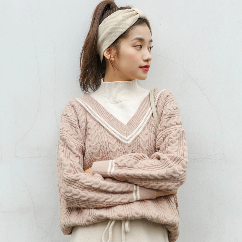 Autumn Women Fashion Tops Fake Two Pieces Sweaters Twist Casual Turtleneck Sweater Jumper Oversized Pullovers Loose Chic Sweters
