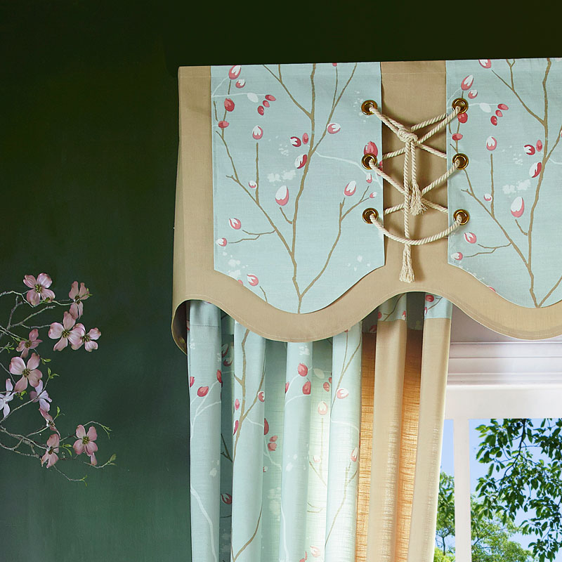 Green Curtains Bedroom Custom Made Window Panels Pastoral Living Room Red Flower Fabric Drapes Luxury Printed Blind New In From Home