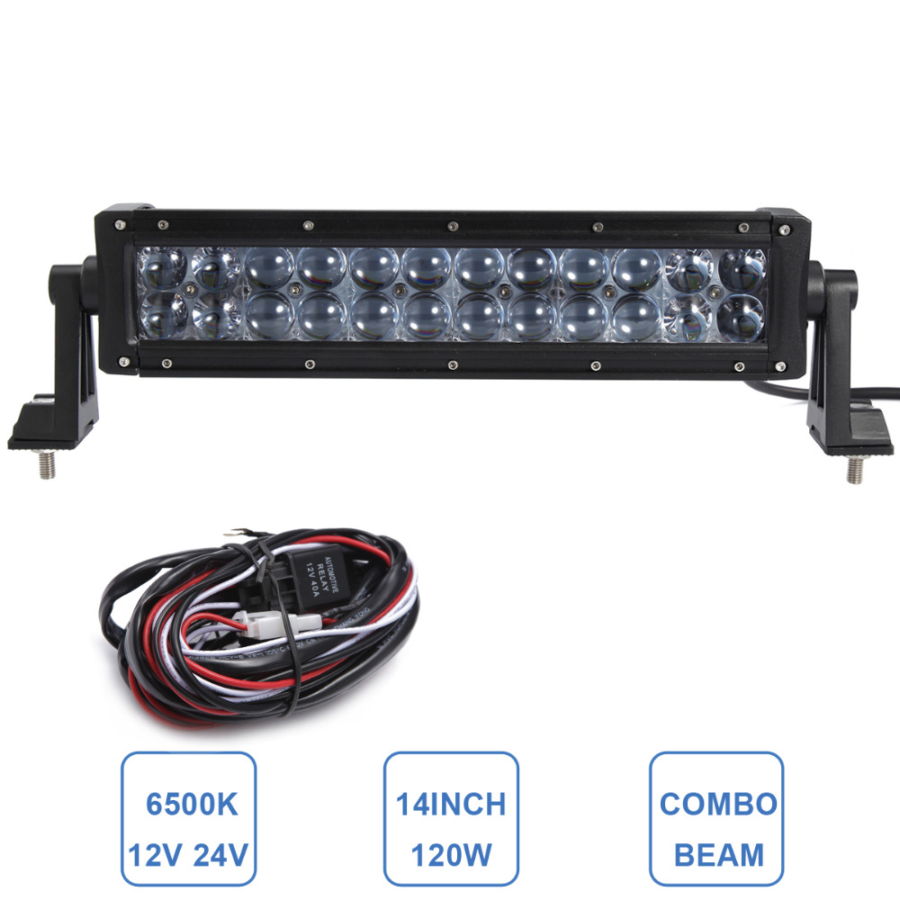 14'' 120W Offroad LED Light Bar ATV Yacht Boat Truck Trailer Tractor Car SUV 4WD 4X4 Camping Work Lamp 12V 24V Auto Headlight
