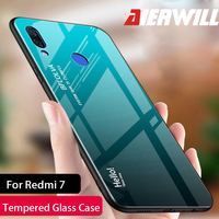 Luxury Glass Case For Xiaomi Redmi 7 Case 9H Tempered Glass Silicone Cover Hybrid Bumper Back phone Cover For Redmi 7 Case
