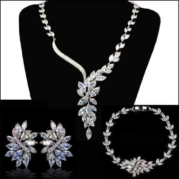 High Quality Sparkling Aaa Cubic Zirconia Wedding Bridal Jewelry Sets Flower Necklace Bracelet Earring For Brides In From