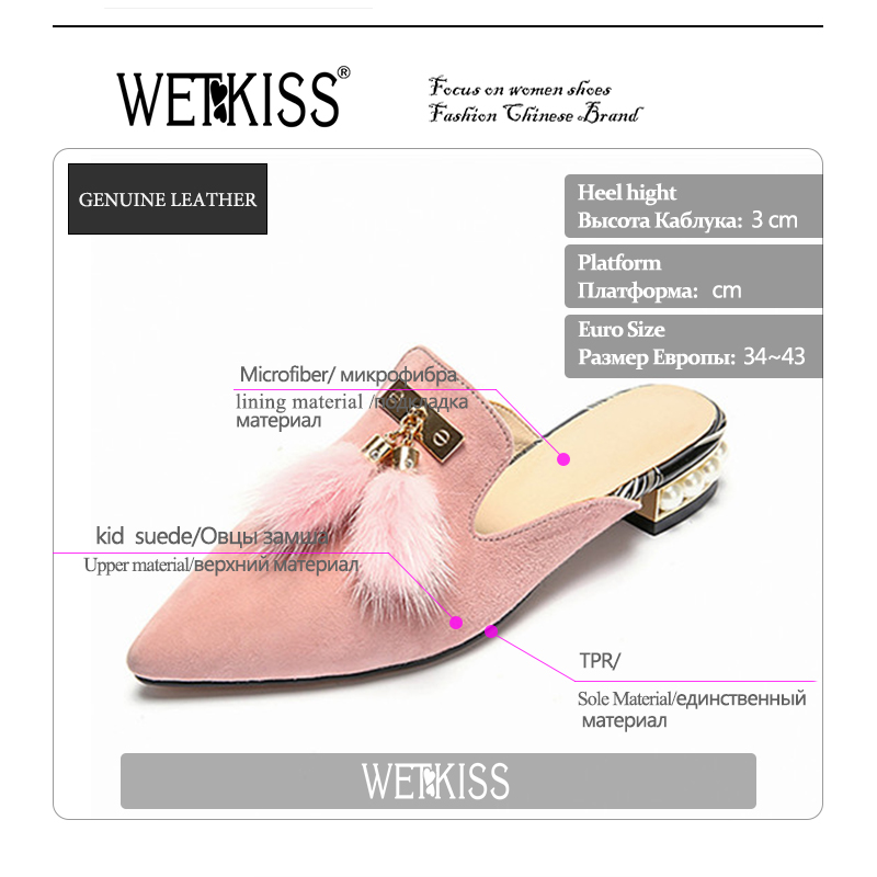 WETKISS Handmade Kid Suede Fashion Mules Shoes Woman Pointed toe Slingback Pumps Fur Charm Low Bead Heels Ladies Shoes Superstar