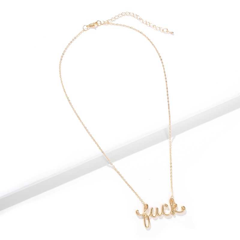 Solememo ยอดนิยม Gold Letter Luck จี้สร้อยคอสำหรับสาว Blessing แฟชั่นจี้สร้อยคอเครื่องประดับของขวัญขายส่ง N6870
