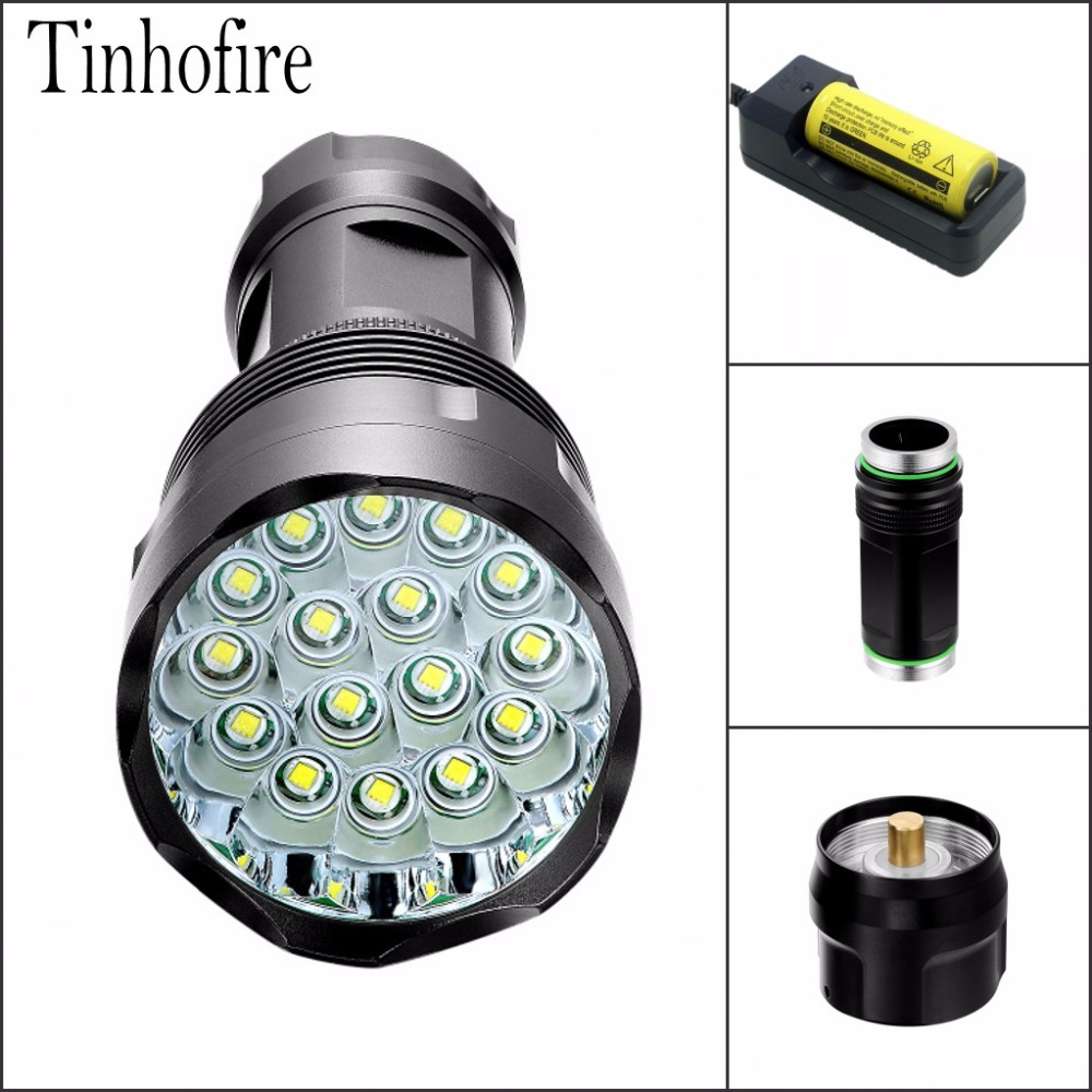 Tinhofire T16 16xT6 CREE XM-L T6 28000 Lumens 5-Mode LED Flashlight Torch Lamp Light flashlight 18650/26650 Battery tinhofire 6870 cree xm l 2 2000 lumens l2 led flashlight torch light lamp micro usb input 5v charger with battery