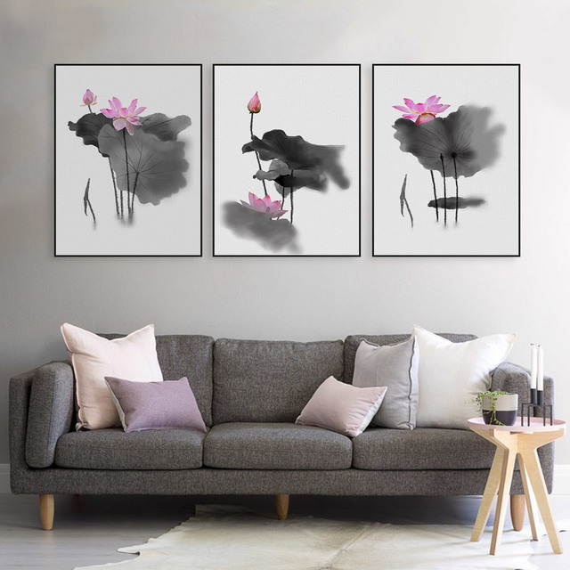 Asiatische Bilder Auf Leinwand triptychon moderne aquarell chinesische kalligraphie tinte lotus