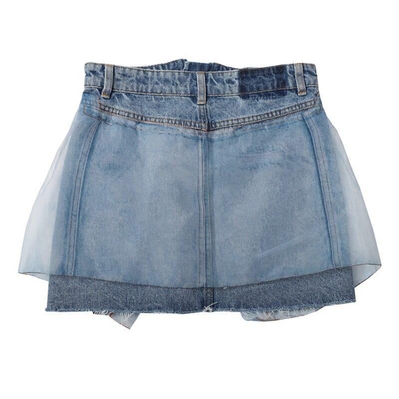Couture Rétro Femelle Casual D'été Chaude Jupe Solide Haute Bleu Offre Coton Taille Jupes 2018 Cowboy Spéciale Personnalité vtZPw0q