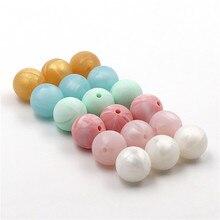 JOJOCHEW 50 db-os szilikon gyöngyökkel kerek forró eladó 15 mm-es BPA szabad szilikon fogas gyöngyök Babaápolási ékszerek 9 színben