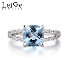 Leige Jewelry Natural Aquamarine 925 Sterling Silver Ring March Birthstone Gemstone Cushion Cut Wedding Rings for Women