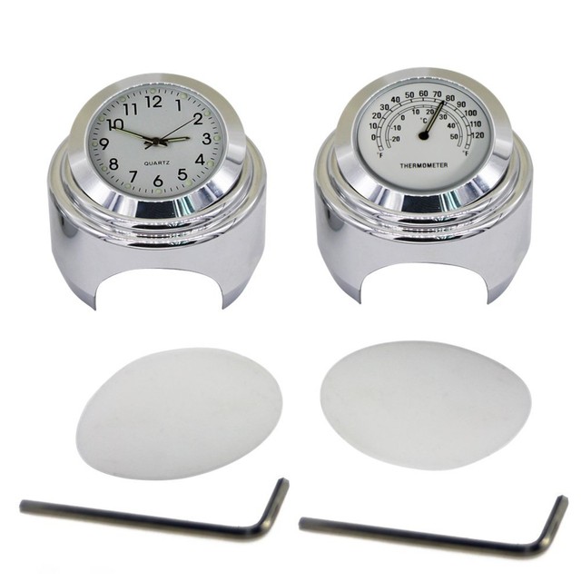 2pcs/set 22-25mm Motorcycle Handlebar Dial Clock and Thermometer for Yamaha Kawasaki Honda Suzuki Harley Davidson (White)