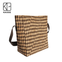 KAOGE women Vegan cork Handmade handbag plaid casual large bag female  Antifouling wide shoulder strap messenger bag цена
