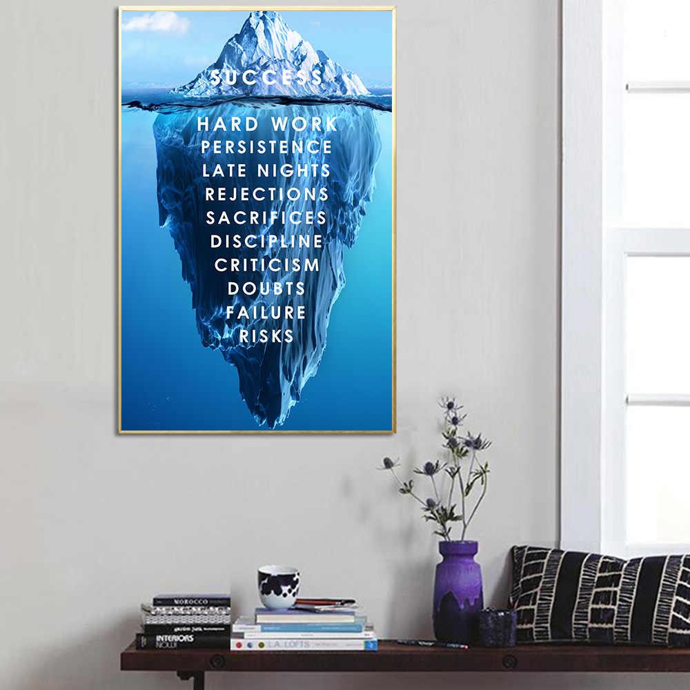 gunung es dari sukses kanvas poster pemandangan motivasi kanvas