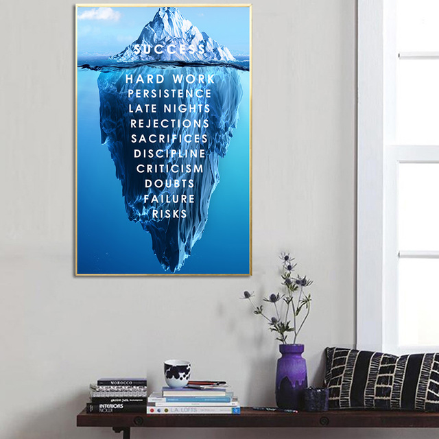 Iceberg Success Canvas Poster Landscape Motivational Wall Art Quote Nordic Print