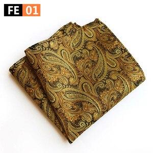 New Design Polyester Hanky Gold & Black Paisley Men Fashion Plaid Pocket Square Handkerchiefs for Men Suit Tie Handkerchief