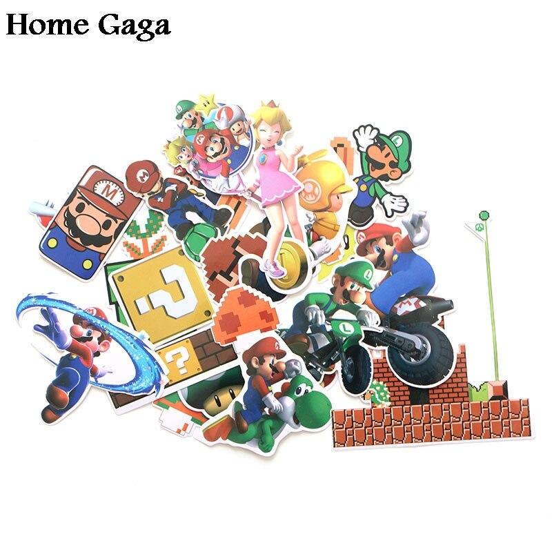 Homegaga 29pcs/set Super Mario Pvc Waterproof Cartoon Sticker For car Luggage Phone Laptop Moto Bicycle Wall Guitar diy D1176