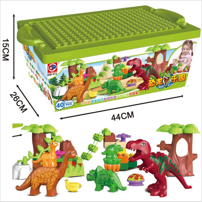 40Pcs/Lot Dino Valley Building Blocks Sets Large particles Animal Jurassic World Model toys Bricks Duploe B4