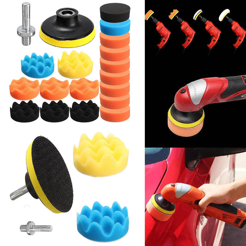 MAYITR 19Pcs Mixed Color 3 80mm Sponge Car Foam Buffing Pad Kit High Gross Polishing Cleaning Tools for Car Polisher M10