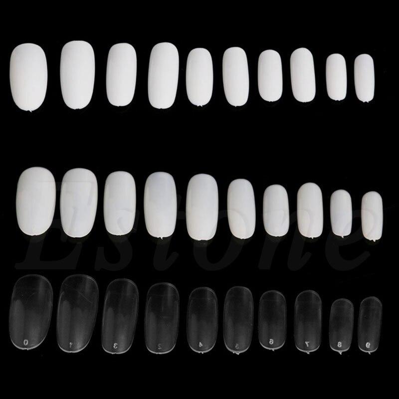 500 Шт. Овальной Полный Раунд Акриловые Французский Ложные Советы Ногтей Белый Натуральный Ясно