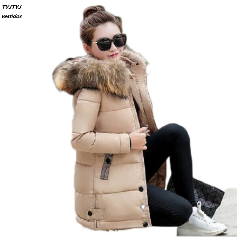 Thickening warm sundered cotton jacket female long section hooded large collar cotton coat 2017 fashion winter