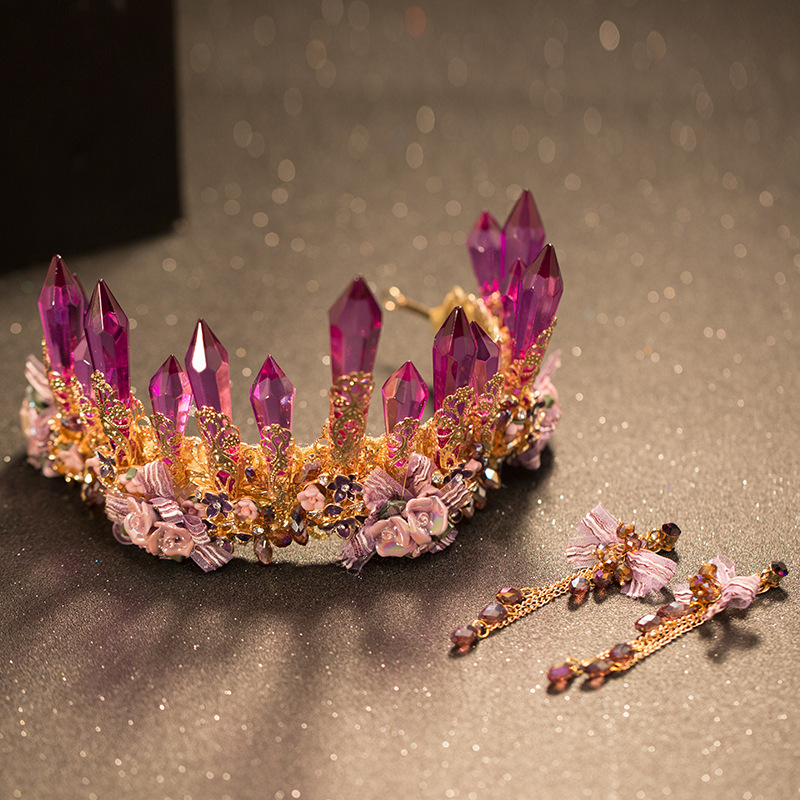 Luxury Big Flower Crowns Purple Crystal Bride Crown Baroque Tiaras Wedding Hair Accessories Jewelry Diadem In From On