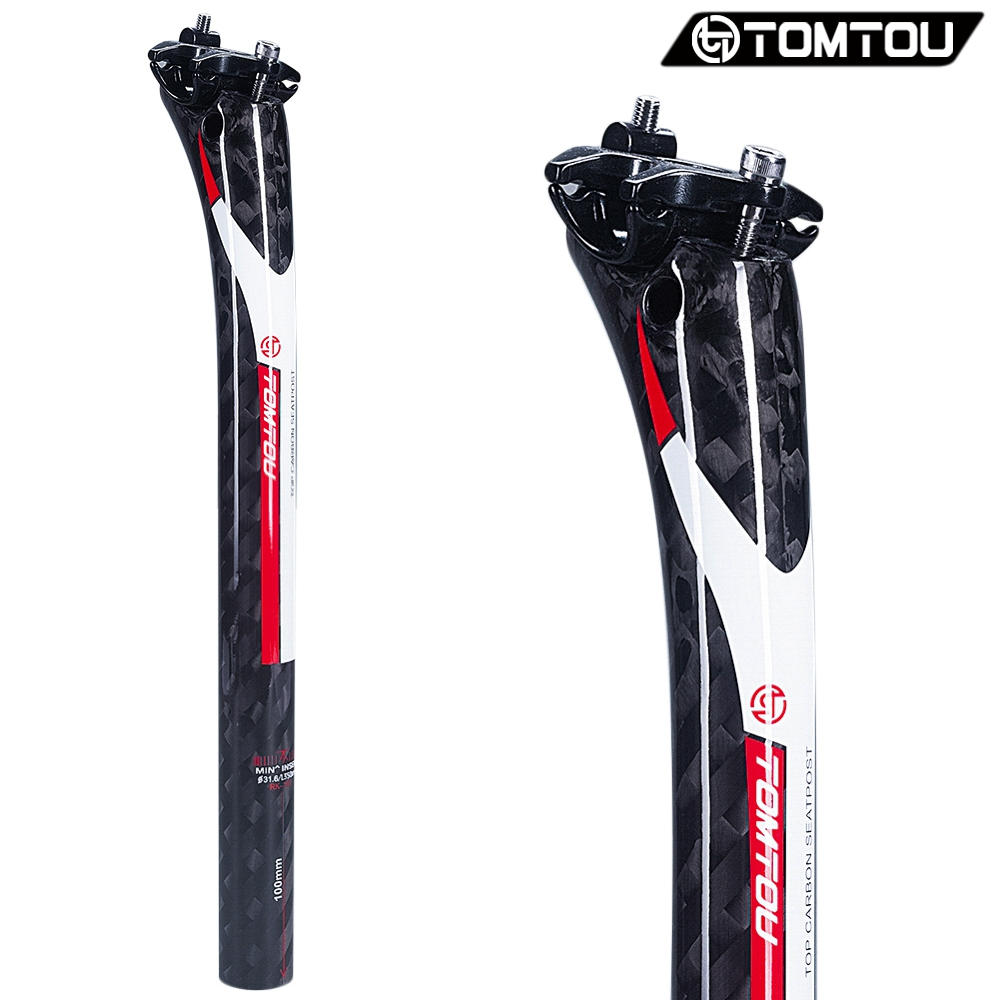 TOMTOU Bicycle Seatpost Carbon Fiber Seat Post Mountain Bike Road Bicycles Parts 27.2/30.8/31.6mm 12K Finish Glossy Red - TF5T41
