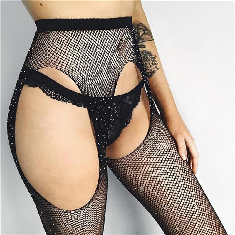 Women Pantyhose Sexy Tights Black Shiny Rhinestone Open Crotch Collant Femme Fishnet Stockings Hollow Out