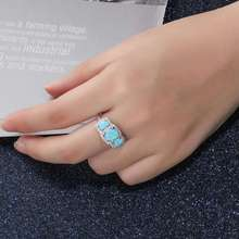 Original Oval Blue Opal Rings Real Pure 925 Sterling Silver