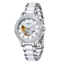 SOLLEN 32.5mm white rose gold tourbillon power reserve seagull movement, women's waterproof hollow automatic mechanical watch