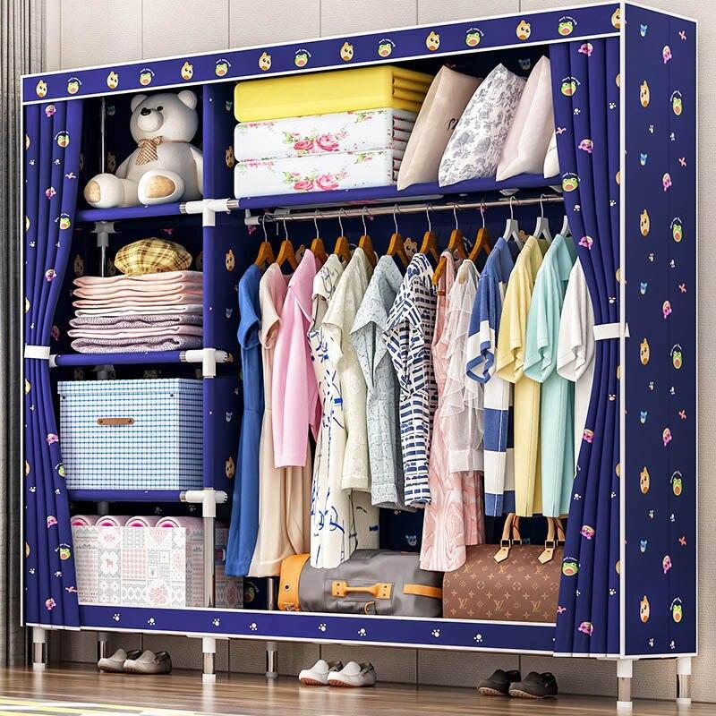 Mode imprimé armoire 25mm tuyaux en acier Oxford tissu garde-robe Simple et Économique type de rangement En Tissu armoire Meubles de Maison