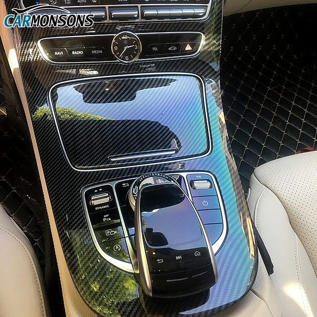 Carmonsons for Mercedes Benz E Class W213 Center Console Protective Frame Trim Cover Plastic Sticker Accessories Car Styling