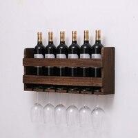 Mejor Estante de madera Retro para colgar en la pared para vino tinto estante creativo para copas