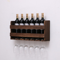 Retro wooden wall hanging red wine rack upside down creative home goblet rack simple modern European glass shelf wx8071532