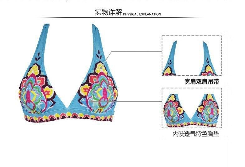 2016 החדש טוטם בציר הדפסה ביקיני סט מרופד Beachwear לנשים, בגדי ים בגדי ים 4 צבעים S/M/L