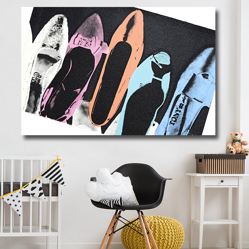 popular pop art wall buy cheap pop art wall lots from china pop hdartisan diamond dust shoes wall pop art decoration oil painting on canvas paintings for living room