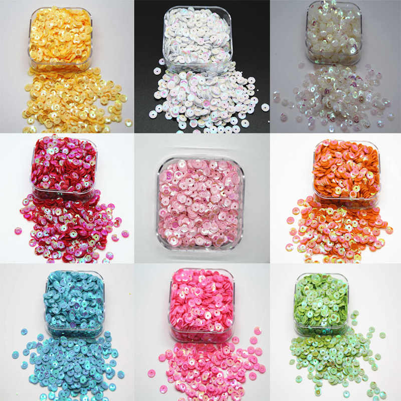 1000Pcs 6.5mm Round Sequins Paillettes Loose AB Wedding Sewing Craft DIY Hat clothing Hat and shoe decoration