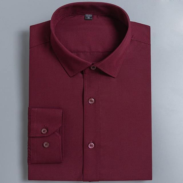 Men's Basic Design Solid Color Regular Fit Long Sleeve Dress Shirts Comfortable Broadcloth Formal Business Work Office Top Shirt