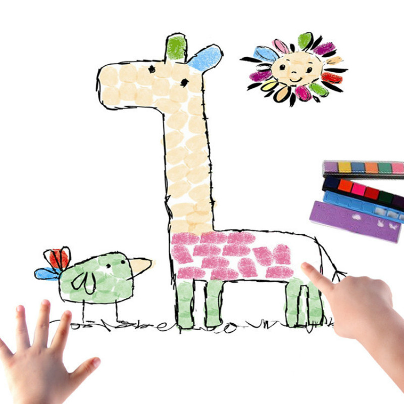 8 Pattern/set Kids DIY Finger Painting Pictures Set Children Colorful Fingerpaint Drawing Education Learning Toys For Kids