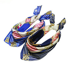 Luxury Fashion Sailing Boat Anchor Women Small Square Silk Scarves Business Bandana Ladies Striped Print Satin Scarf Accessorie